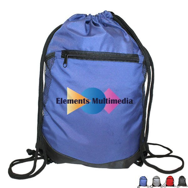Soft RPET Drawstring Backpack w/ Pocket, Full Color Imprint