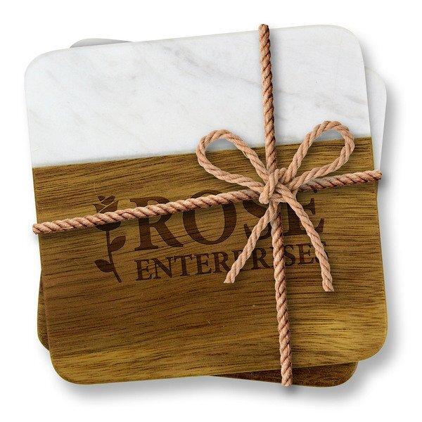 Acacia Wood & Greek Marble Coaster 2 Piece Set