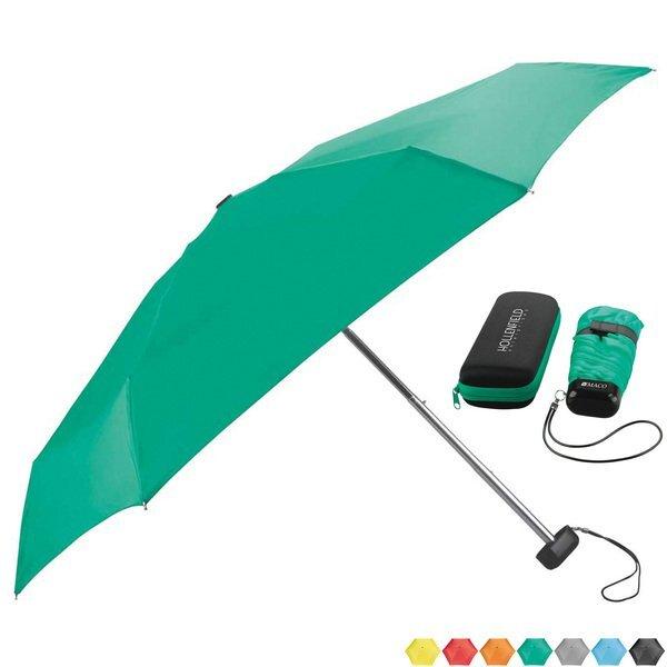 "Mini Folding Travel Umbrella w/ Case, 37"" Arc"