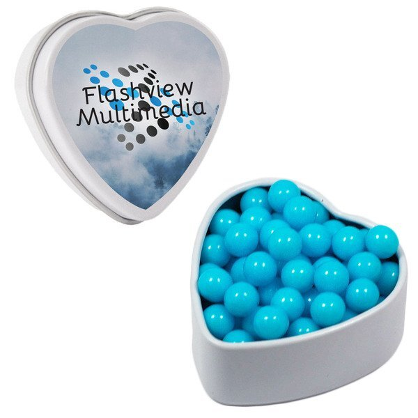 Colored Candy in Small Heart Tin