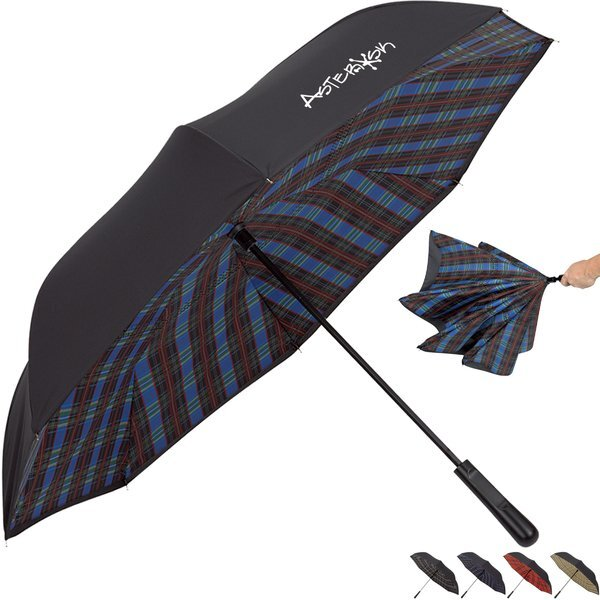 "Soho Tartan Inversion Umbrella, 48"" Arc"