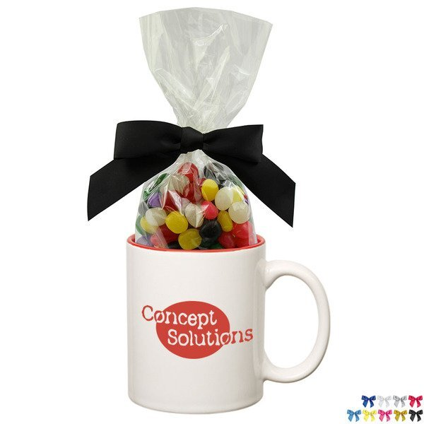 Two-Tone Ceramic Mug w/ Jelly Beans, 11oz.