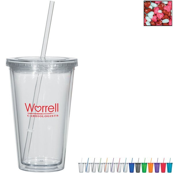 Double Wall Tumbler w/ Candy Hearts, 16oz.