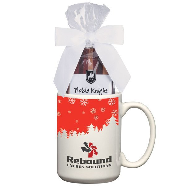 Ceramic Full Color Mug w/ Two Cocoa Packs Gift Set, 15oz.