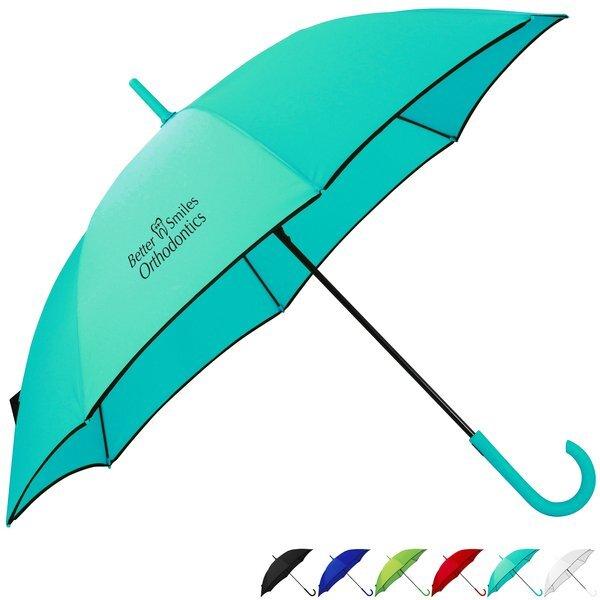 """Black Edged Auto Open Colorful Fashion Umbrella, 46"""" Arc"""