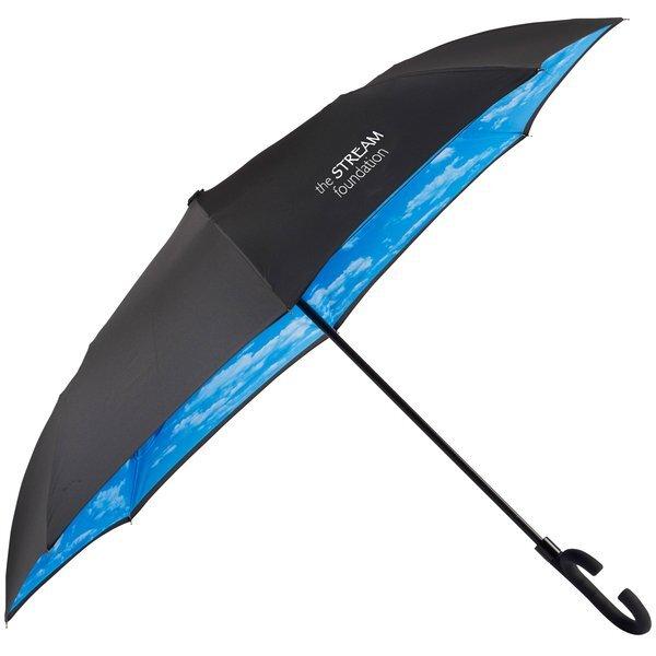 """Cloudy Day Auto Open Designer Inversion Umbrella, 48"""" Arc"""