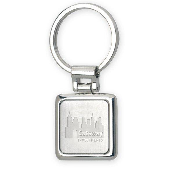 Basix Split Ring Nickel Key Chain - Square