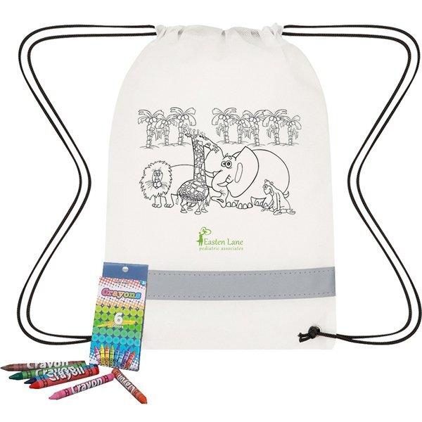 Lil' Bit Reflective Non-Woven Coloring Drawstring Bag w/ Crayons