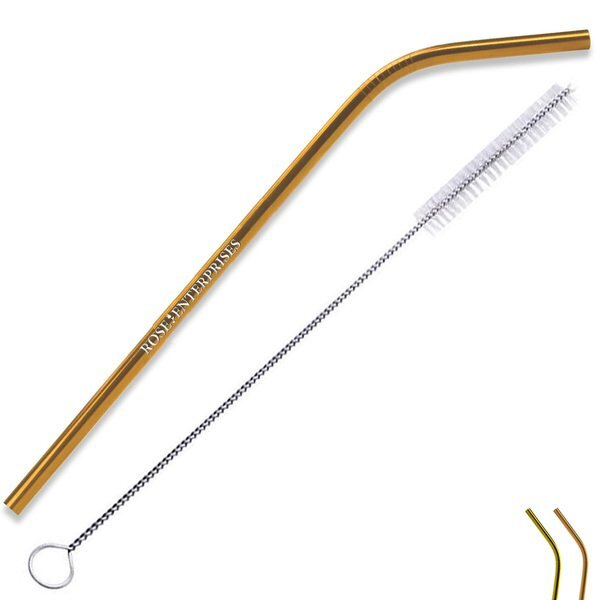 Copper Stainless Steel Bent Straw w/ Cleaning Brush