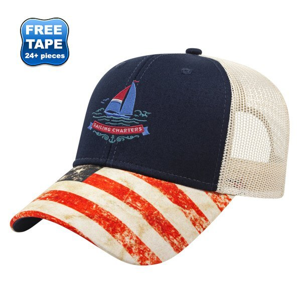 Flag Design Constructed Cap with Mesh Back