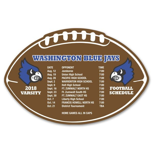 Football Shaped Schedule Magnet
