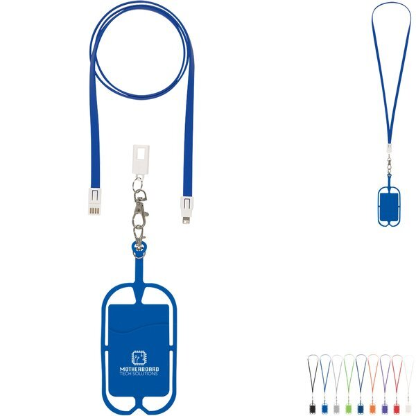Two-In-One Charging Cable Lanyard w/ Phone Holder & Wallet