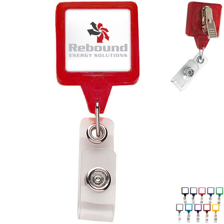 Premium Square Badgeholder, Alligator Clip