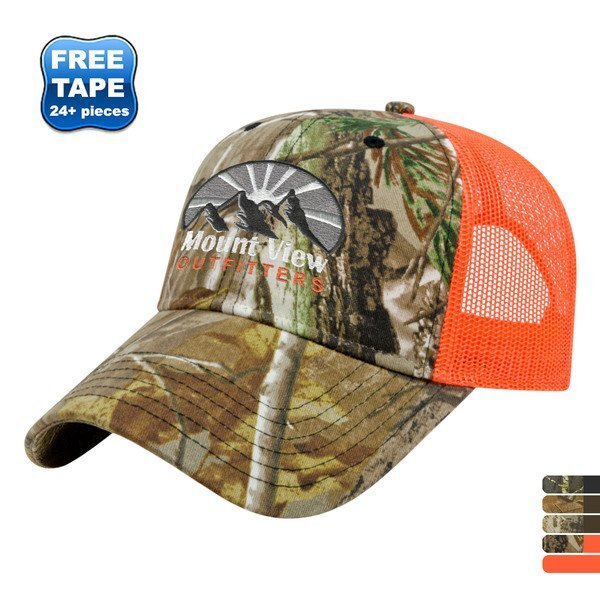Camo Constructed Cap with Solid Color Mesh Back