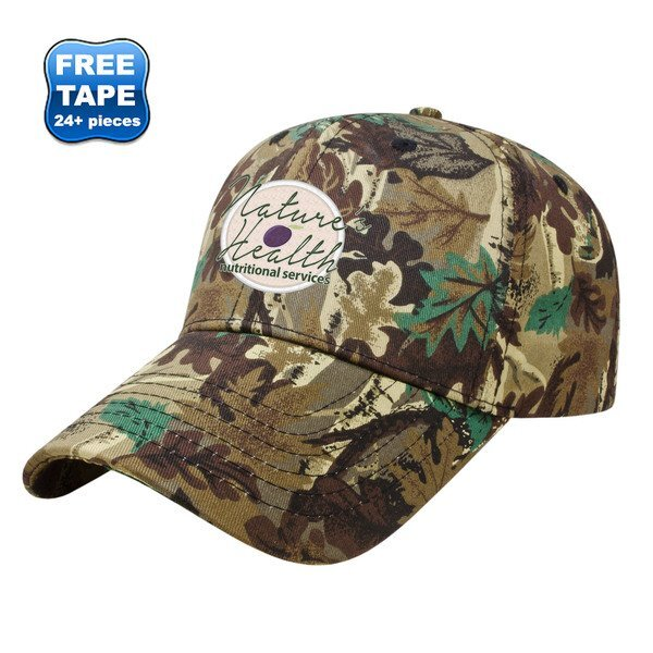 Camo Leaf Pattern Twill Constructed Cap