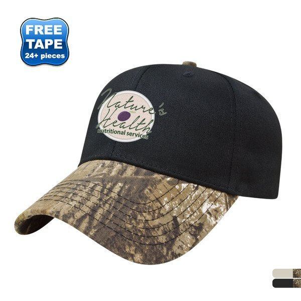 Cotton Twill Constructed Cap with Camo Visor