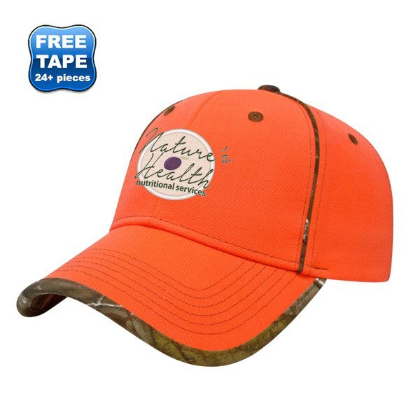 Blaze Orange Constructed Cap with Camo Piping and Contast Stitching