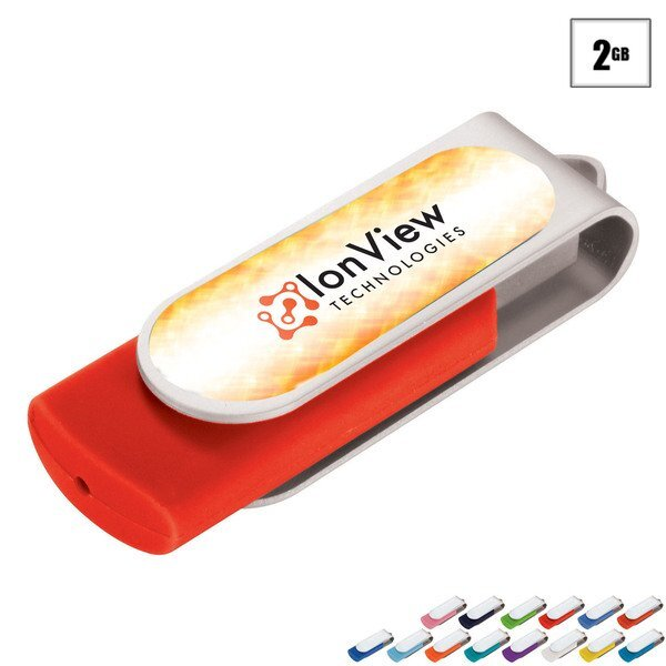 Domeable Rotate Flash Drive, 2GB, Full Color Imprint