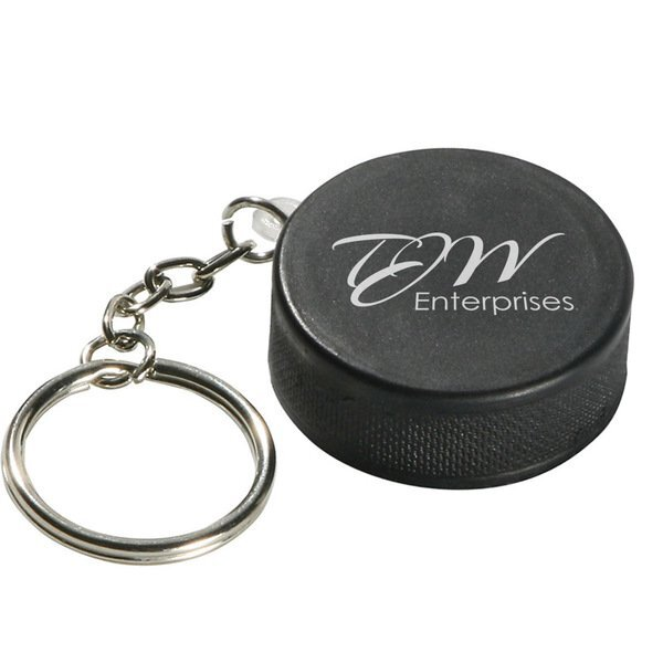 Hockey Puck Stress Reliever Key Chain
