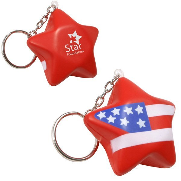 Patriotic Star Stress Reliever Key Chain