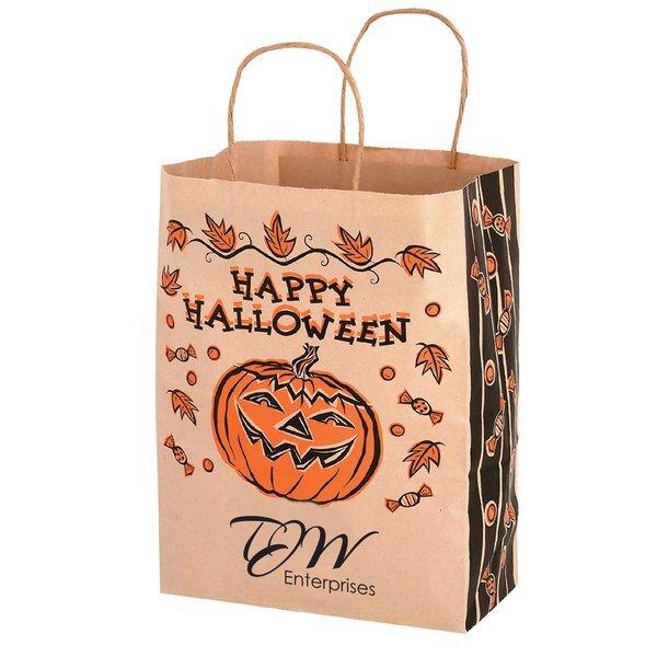 """Halloween Natural Kraft Paper Shopper Bag w/ Gusset, 10"""" x 13"""""""
