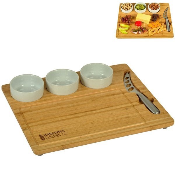 Five-Piece Bamboo Cheese Board Set