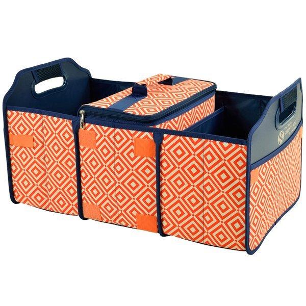 Collapsible Polycanvas Trunk Organizer w/ Removable Cooler - Diamond Orange