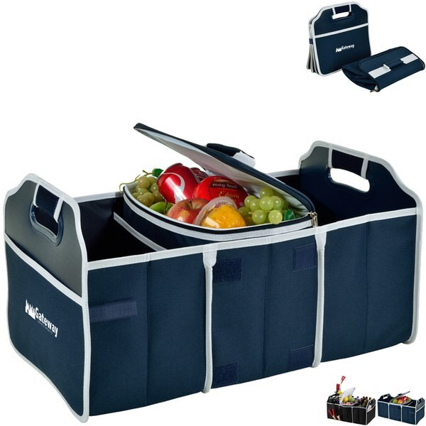 Collapsible Polycanvas Trunk Organizer w/ Removable Cooler - Solid Colors