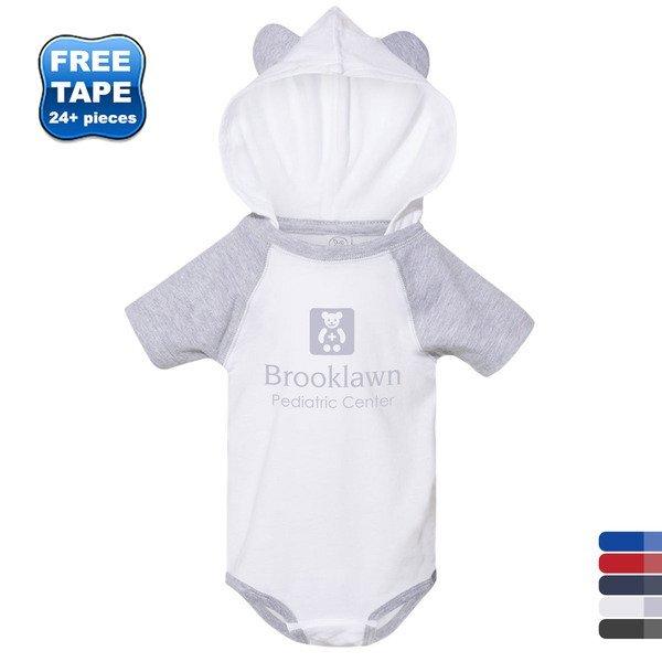 Rabbit Skins® Ringspun Cotton Short Sleeve Raglan Bodysuit with Hood & Ears