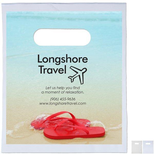 "Digital Full Color Plastic Die Cut Take Home Bag, 7-1/2"" x 9"""