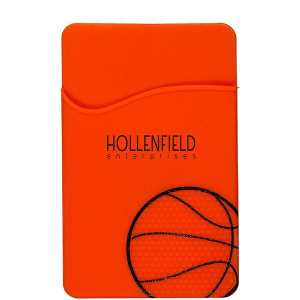 Sport-Themed Silicone Phone Pocket - Basketball