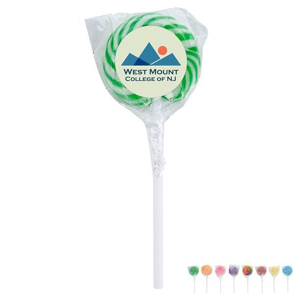 Swirl Lollipop w/ Round Full Color Label
