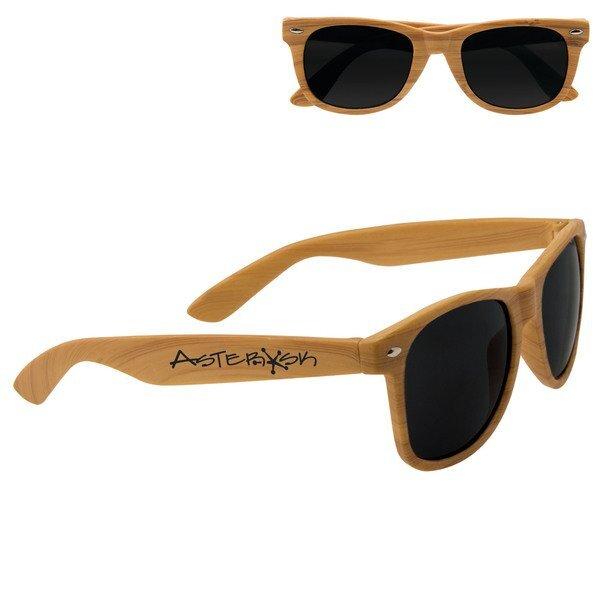 Wood Grain Sunglasses w/ UV Protection