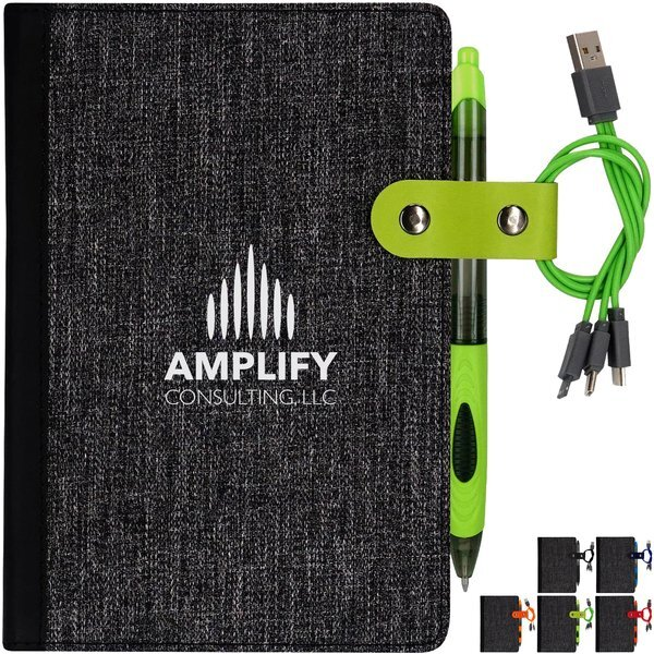Cable Snap Notebook w/Three-in-One Charging Cable & Pen