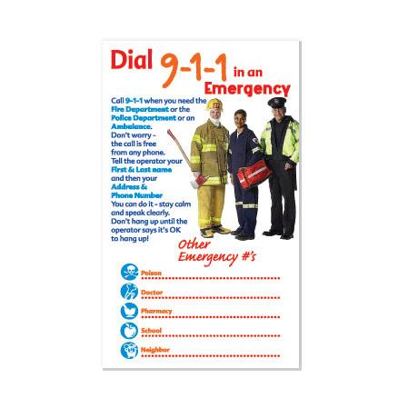 Dial 911 Info Magnet, Stock