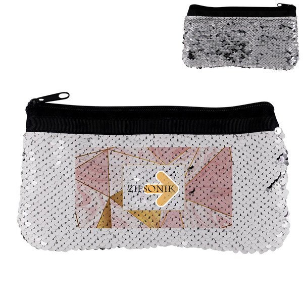 Vibrant Marble Sequin Pouch, Full Color