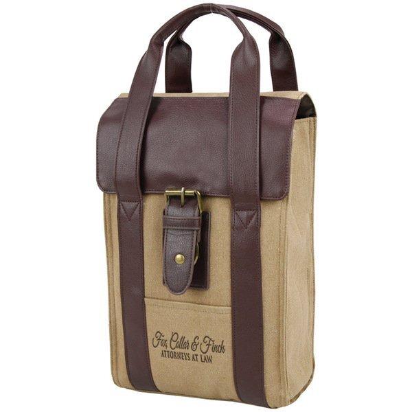 Arlington Cotton Canvas Wine Bag