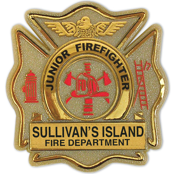 Junior Firefighter Badge, Maltese Cross, Clip Backing, Custom