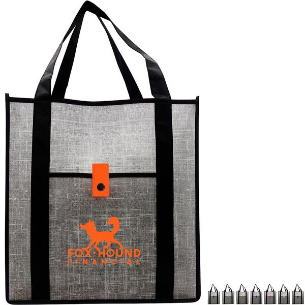 Gray Denim Non-Woven Grocery Tote