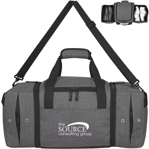 Deluxe Heathered Polyester Sneaker Duffel Bag, 22""