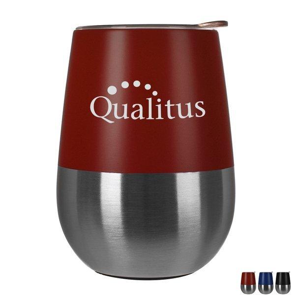 Two-Tone Bel Vino Vacuum Insulated Stemless Wine Tumbler w/ Lid, 10oz.