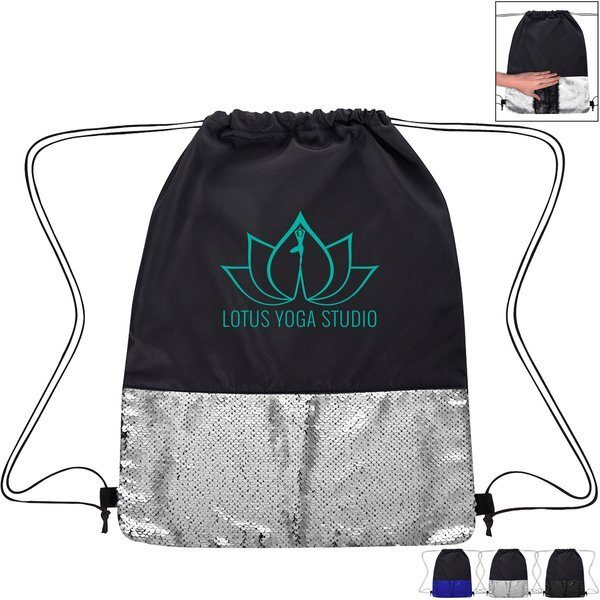 Flip Sequin Pongee Drawstring Bag