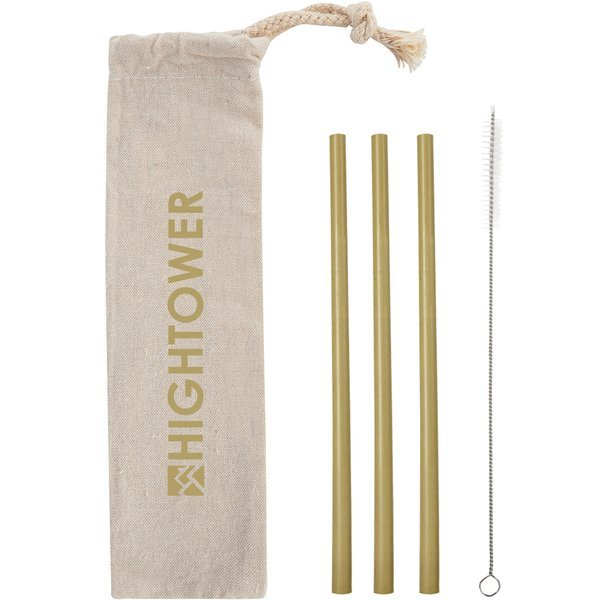 Three-Pack Bamboo Straw Kit in Cotton Pouch