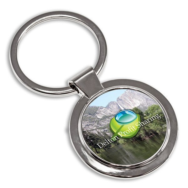 Round Metal Key Tag w/ Full Color Imprint