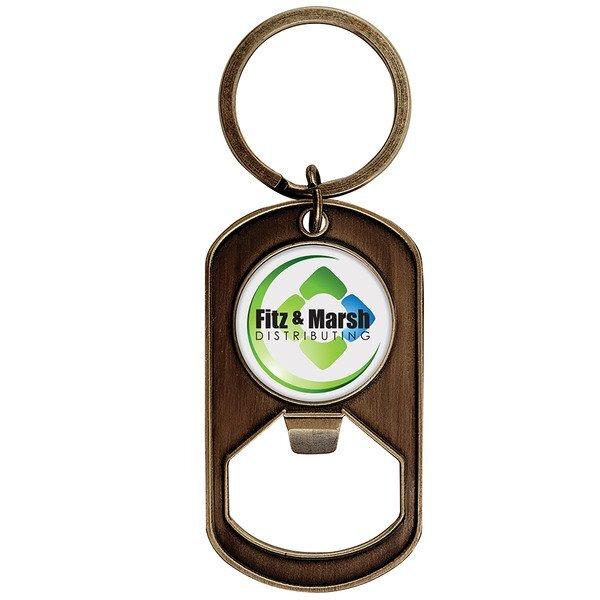 Dog Tag Bottle Opener Key Tag w/ Full Color Imprint