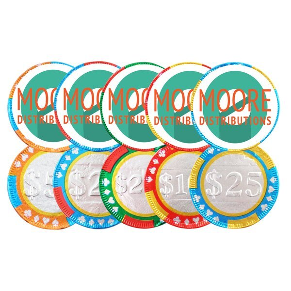 Chocolate Poker Chips w/ Full Color Label