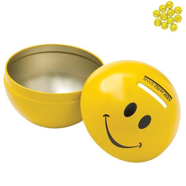 Smiley Face Tin Bank w/ Chocolate Tennis Balls