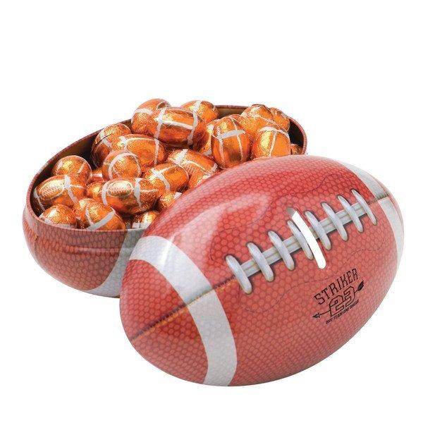 Football Tin Bank w/ Chocolate Footballs