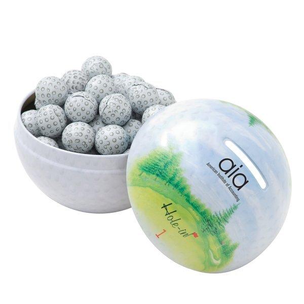 Golf Tin Bank w/ Chocolate Golf Balls