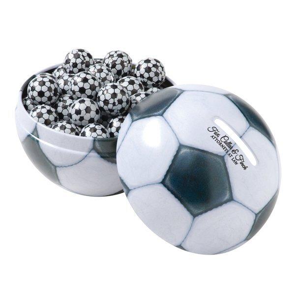Soccer Ball Tin Bank w/ Chocolate Soccer Balls
